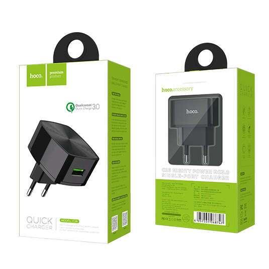 Сетевое зарядное устройство Hoco C26 Mighty power QC3.0 Black