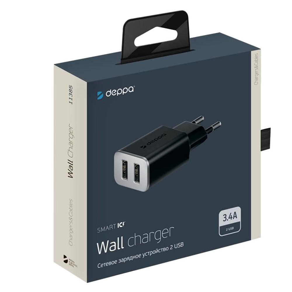 Сетевое зарядное устройство Deppa 2 USB 3.4А (Черный)