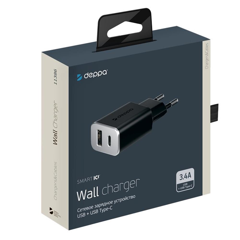 Сетевое зарядное устройство Deppa USB + USB Type-C 3.4А (Черный)