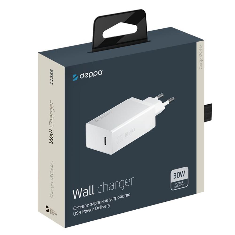 Сетевое зарядное устройство Deppa USB Type-C Power Delivery 30Вт White