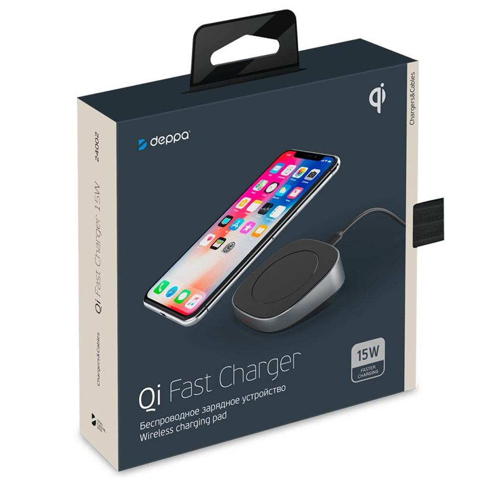 Беспроводное зарядное устройство Deppa Qi Fast Charger 15W Вlack