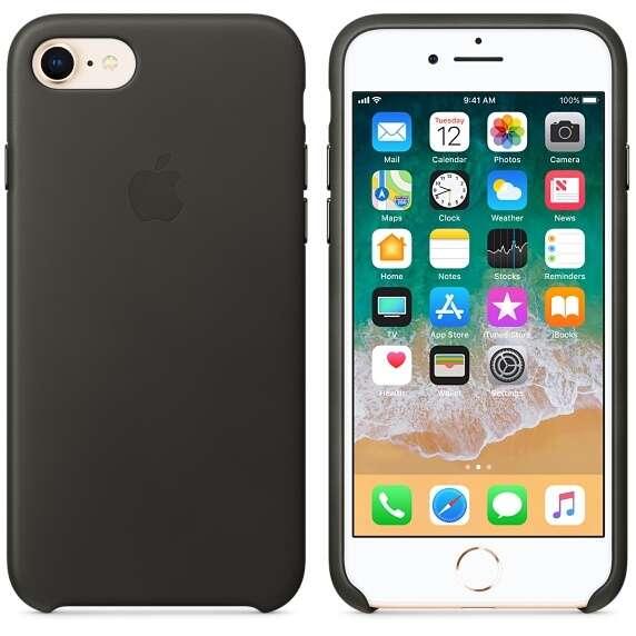 Чехол Apple для iPhone 8 Leather Case MQHC2, (Charcoal Gray)