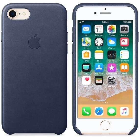 Чехол Apple для iPhone 8 Leather Case MQH82, (Midnight Blue)