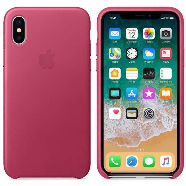 Чехол для смартфона Apple iPhone X Leather Case (Pink Fuchsia)