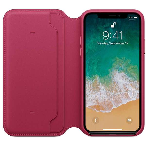 Чехол Apple iPhone X Leather Folio Berry