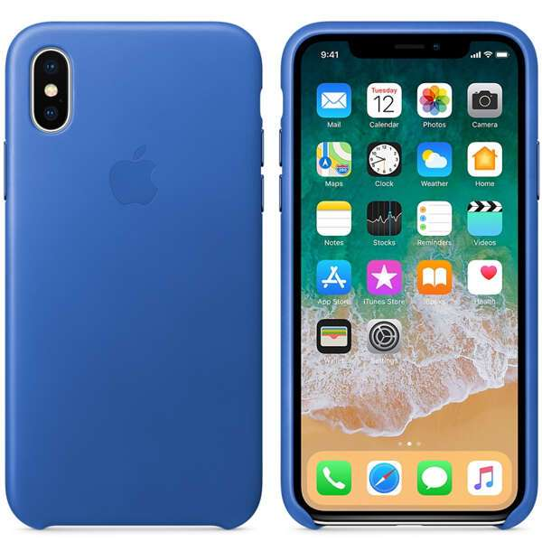 Чехол Apple iPhone X Leather Case Electric Blue