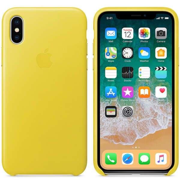 Чехол Apple iPhone X Leather Case Spring Yellow