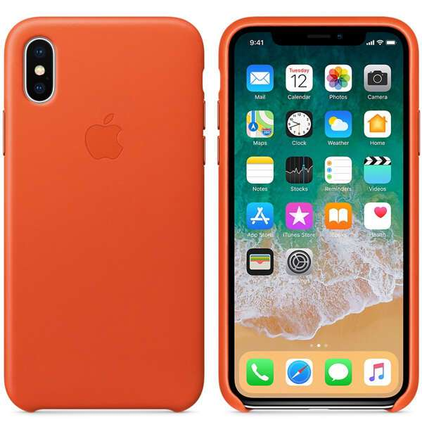 Чехол Apple iPhone X Leather Case Bright Orange