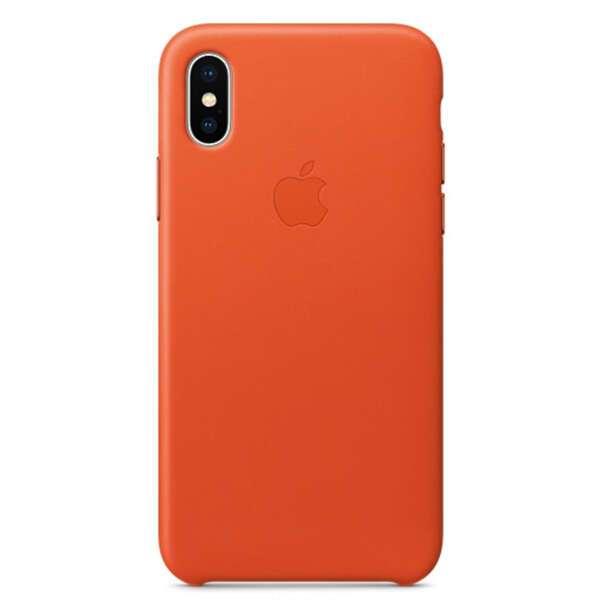Чехол Apple iPhone X Leather Case Bright Orange