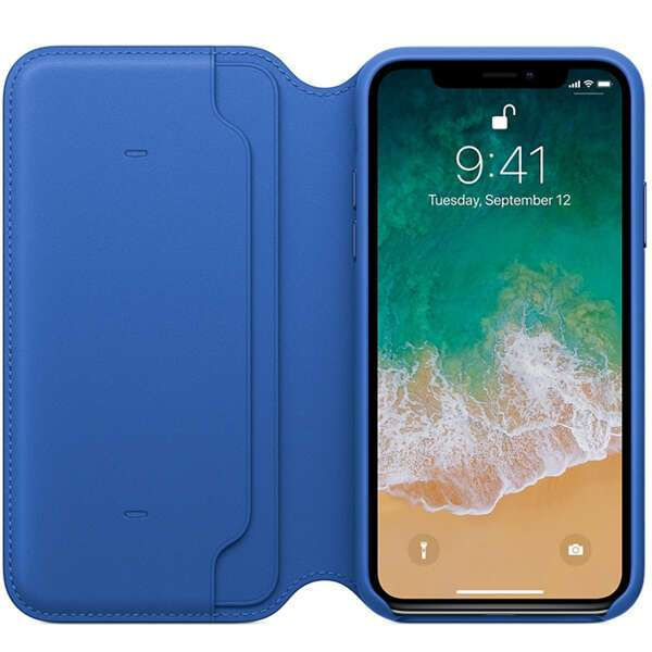 Чехол Apple iPhone X Leather Folio Electric Blue