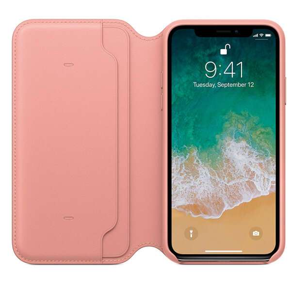 Чехол Apple iPhone X Leather Folio Soft Pink