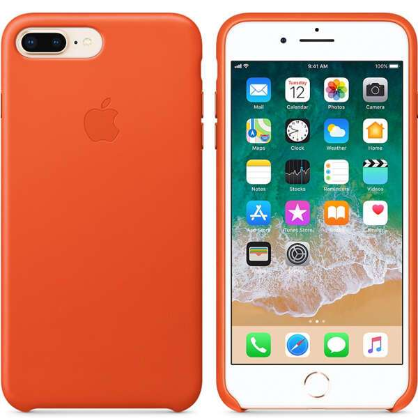 Чехол для смартфона Apple iPhone 8 Plus/7 Plus Leather Case (Bright Orange)