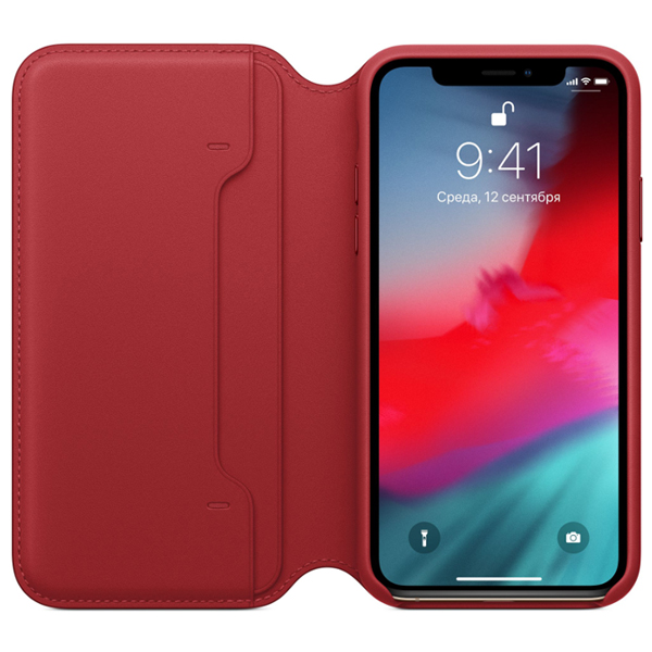 Чехол Apple iPhone XS Max Leather Folio PRODUCT MRX32ZM/A Red