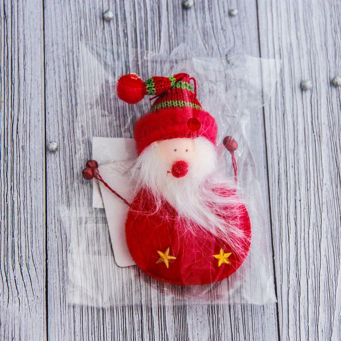 """Мягкая подвеска """"Дед Мороз - кругляш"""" 9 см красный"""