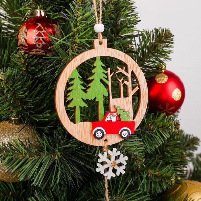 Подвеска новогодняя «Машинка в лесу» с шишкой