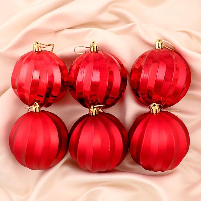 """Новогодние шары """"Пралине"""" (набор 6 шт.), красные"""