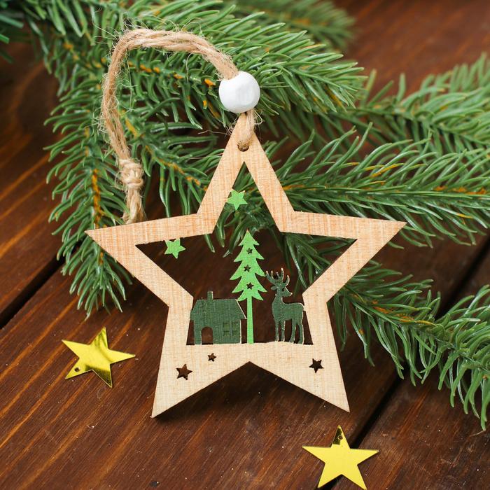 """Новогодняя подвеска """"Лесной олень"""", цвет зеленый"""