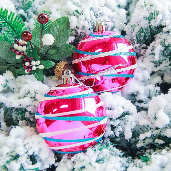 """Новогодние шары """"Орион"""" (набор 6 шт.), малиновые"""