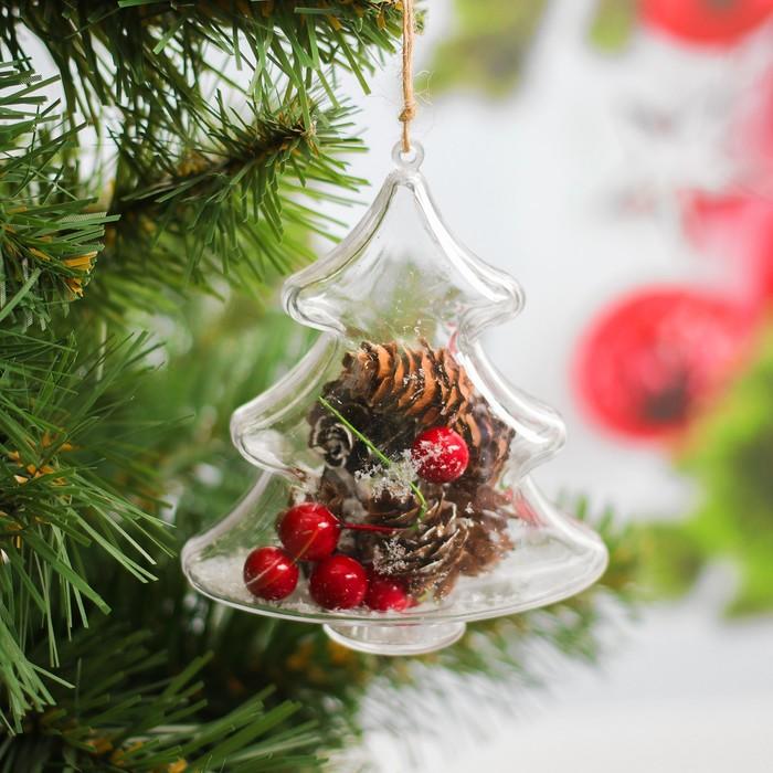 """Новогодняя подвеска с природным декором """"Зимняя ёлочка""""   WS-008"""
