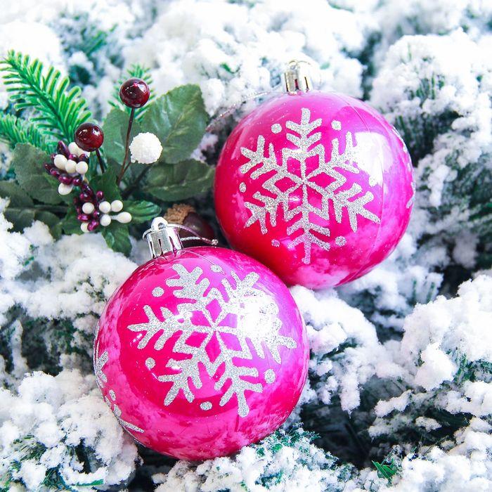 """Новогодние шары """"Капель"""" (набор 6 шт.), розовые"""