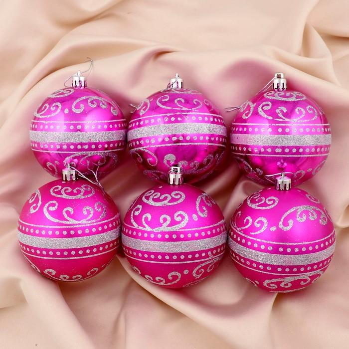 """Новогодние шары """"Метель"""" (набор 6 шт.), малиновые"""