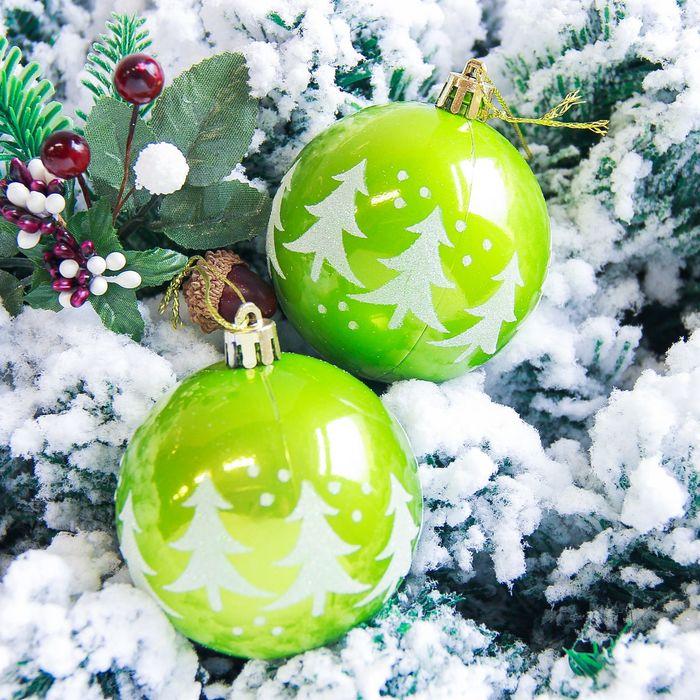 """Новогодние шары """"Ёлочки"""" (набор 6 шт.), зелёные"""