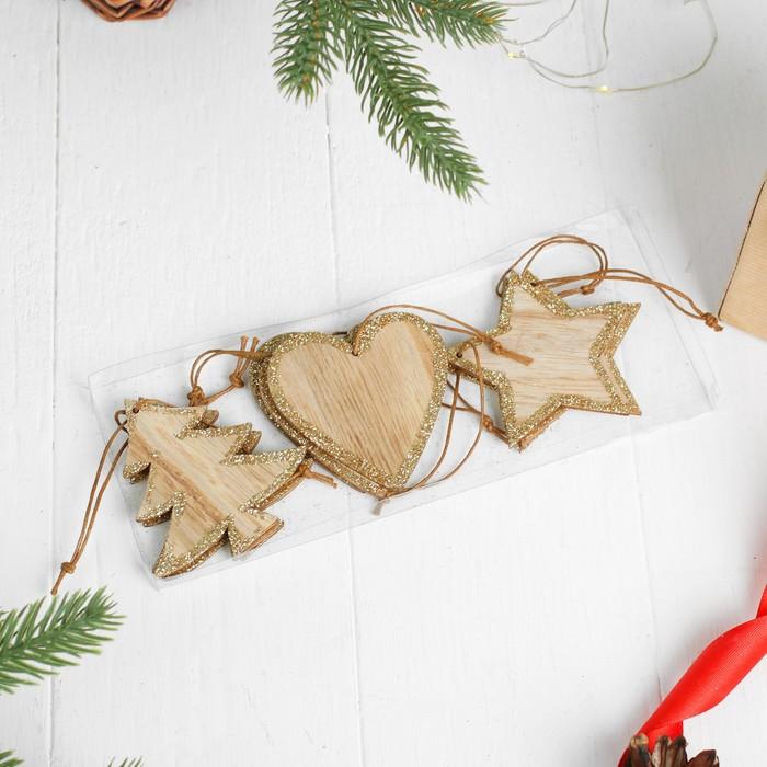 """Набор новогодних подвесок """"Волшебство"""", 9 шт. в наборе"""