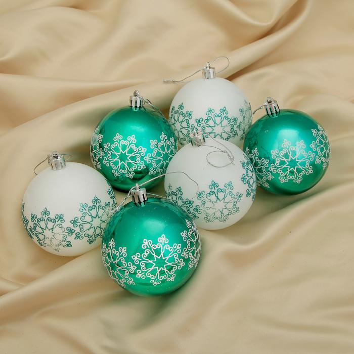 """Новогодние шары """"Изумрудик"""" (набор 6 шт.), резная снежинка"""