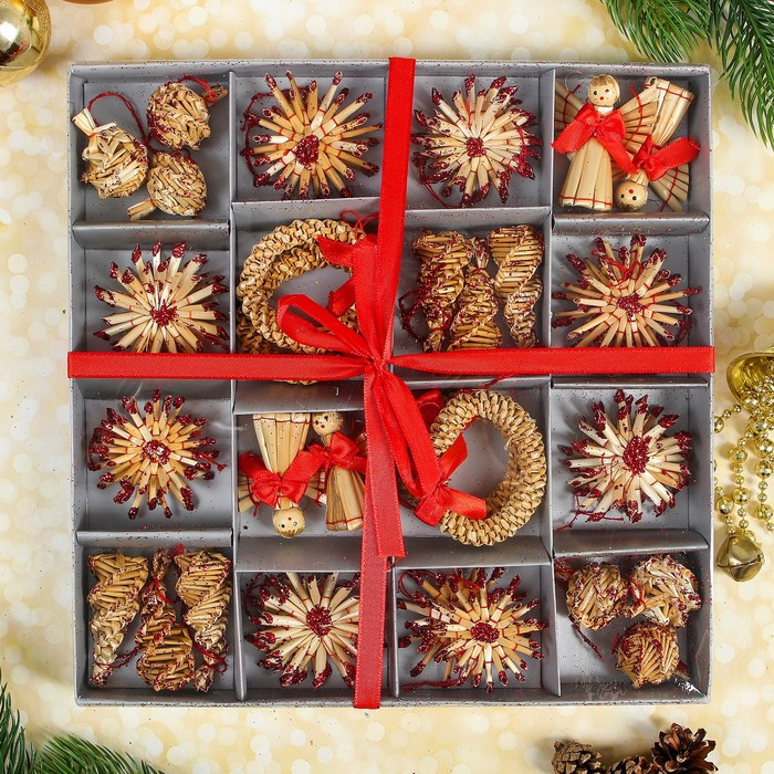"""Эко-декор в подарочной упаковке """"Волшебный праздник"""", бордо, 36 элементов"""