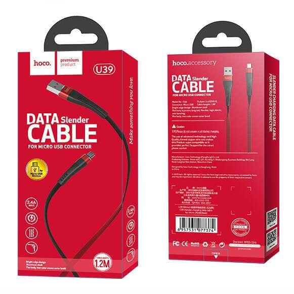 Кабель Hoco micro USB U39 Slender (Red)