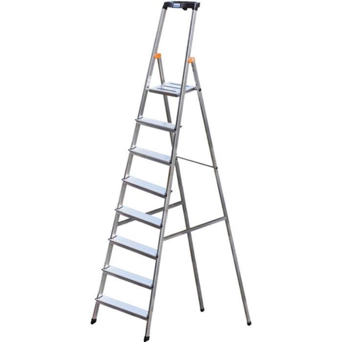 Стремянка KRAUSE MONTO SAFETY, оград. дуга, противоскользящая, раб. высота 3.71 м, 8 ступ.