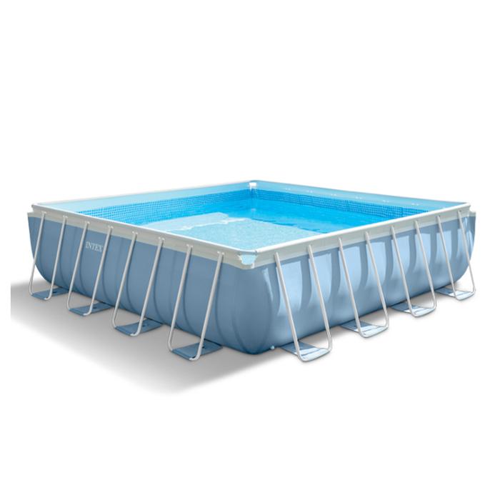 Бассейн каркасный, квадратный Prism Frame Set, 427х107 см, фильтр-насос, лестница, тент, подстилка 28764NP INTEX
