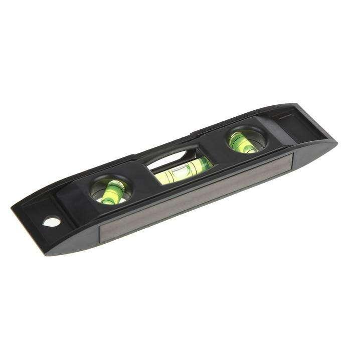"""Уровень FIT """"Торпедо"""" мини пластиковый, 3 глазка, магнитный, 15.2 см"""