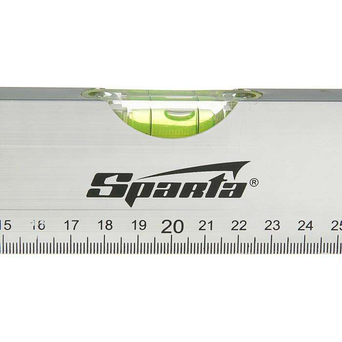 Уровень SPARTA, алюминиевый, 40 см, 2 глазка, линейка