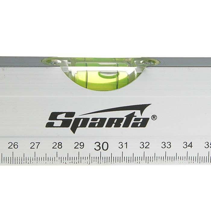 Уровень SPARTA, алюминиевый, 60 см, 2 глазка, линейка