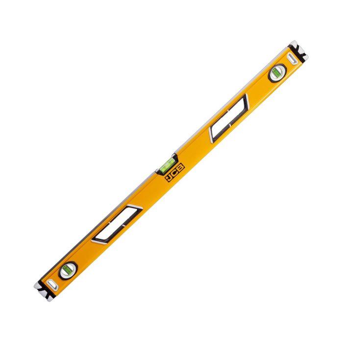 Уровень JCB, коробчатый, магнитный, 3 ампулы, крашенный, с ручками, 0.5 мм/м, 90 см