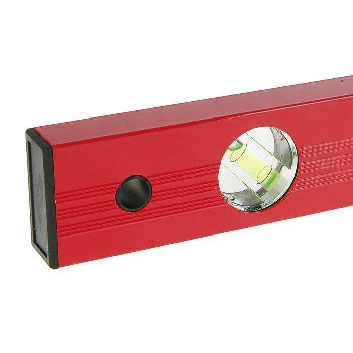 Уровень MATRIX, 80 см, алюминиевый, 3 глазка, красный, линейка