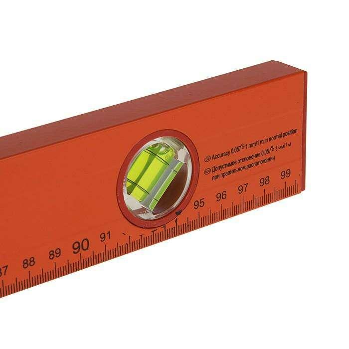 Уровень SPARTA, 100 см, алюминиевый, 3 глазка, оранжевый, линейка