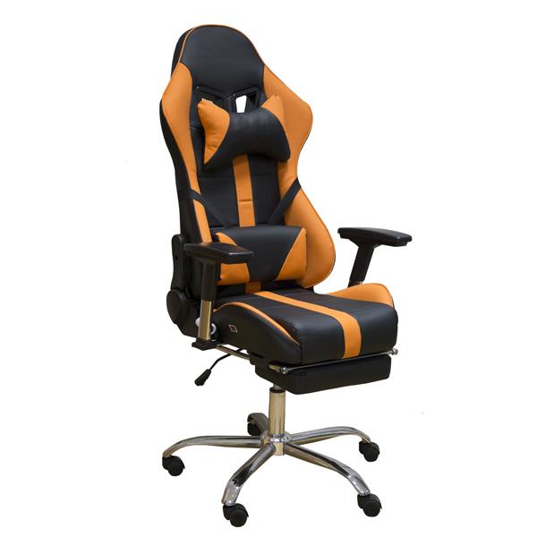 Геймерское кресло Zeta Strike Turbo кожзам  черно-оранжевое