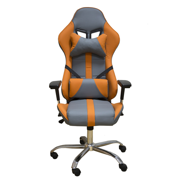 Геймерское кресло Zeta Strike кожзам серо-оранжевое