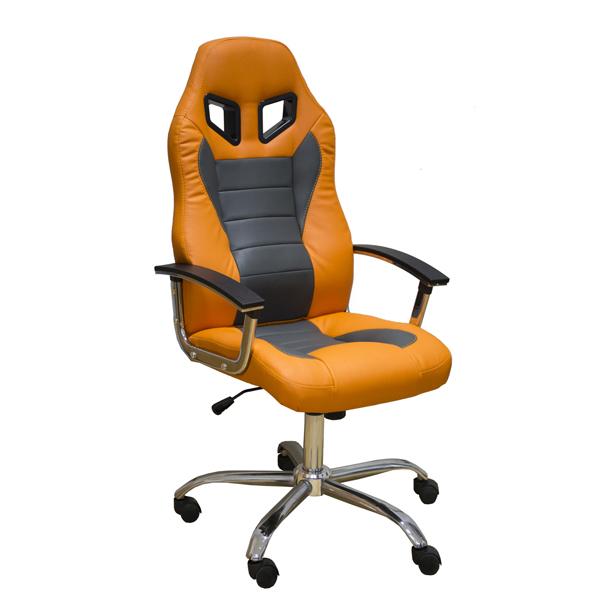 Геймерское кресло Zeta Эдвард серо-оранжевое
