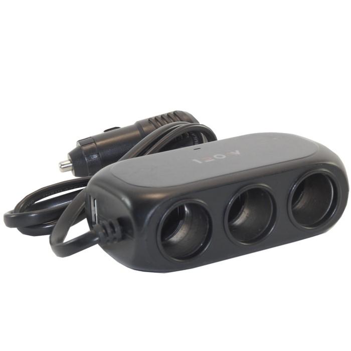 Разветвитель прикуривателя 3 гнезда 12-24 В, USB 1А, провод 60 см, черный