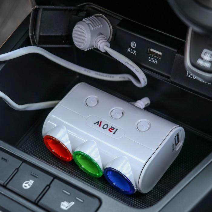Разветвитель прикуривателя, 3 гнезда 2 USB с подсветкой  и вкл/ выкл белый