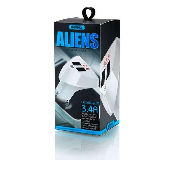 Автомобильное зарядное устройство Remax RCC208 (Alien Series 2USB), Белый