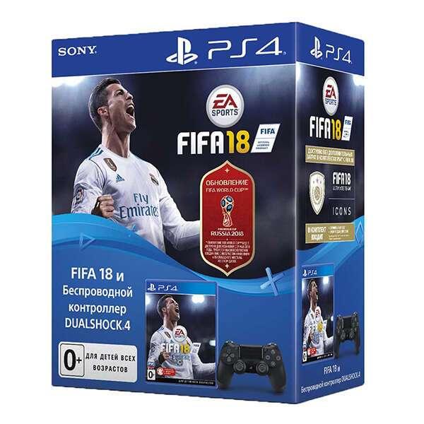 Джойстик Sony Dualshock 4, игра FIFA 18