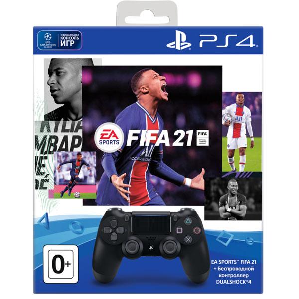 Игровой комплект Sony джойстик PS4 Dualshock Cont Steel Black v2 + игра Fifa21