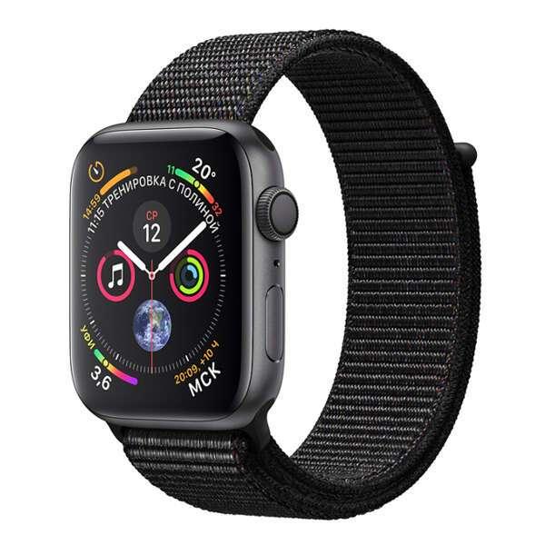 Apple смарт сағаты Watch Series 4 Space Grey, қара түсті спорттық білезік (MU672)