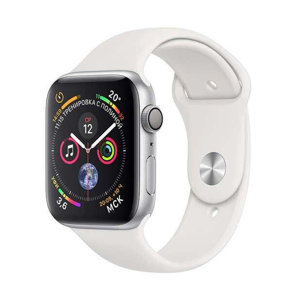 Смарт часы Apple Watch Series 4 Silver, спортивный ремешок белого цвета (MU6A2)