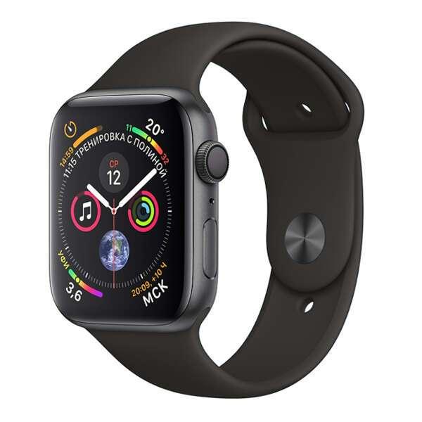 Смарт часы Apple Watch Series 4 Space Grey, спортивный ремешок черного цвета (MU6D2)
