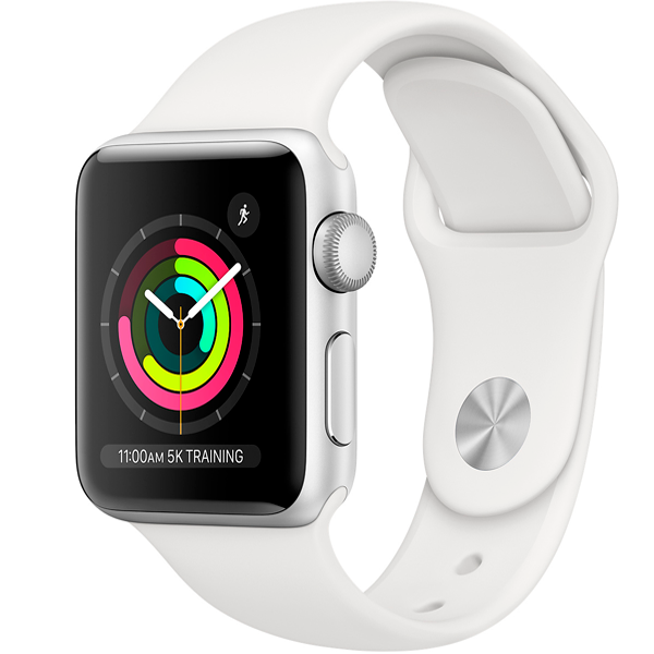 Cмарт часы Apple Watch Series 3 38mm Silver with white sport band (MTEY2)
